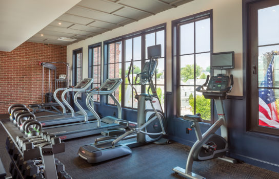 Fitness area - gym with ellipticals and treadmills.